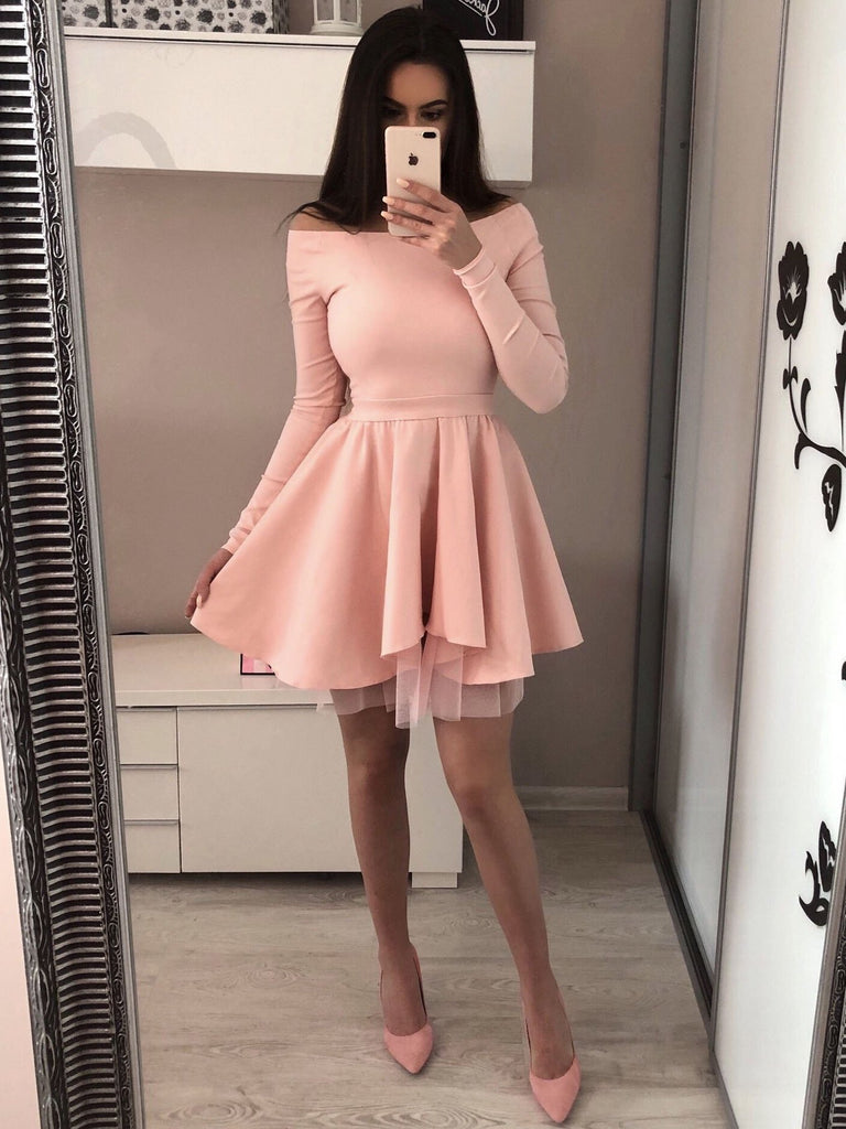 Off Shoulder Jersey A-Line Tulle Long Sleeve Homecoming Dress, FC1702