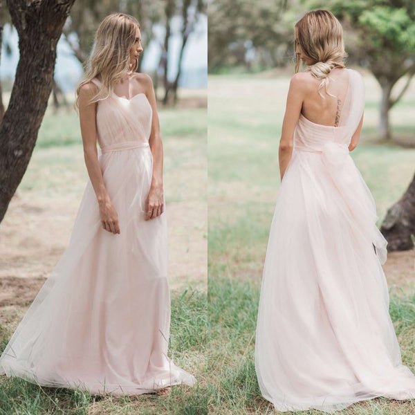 Long One Shoulder A-Line Tulle Bridesmaid Dress, Cheap Light Pink Backless Bridesmaid Dress, D959