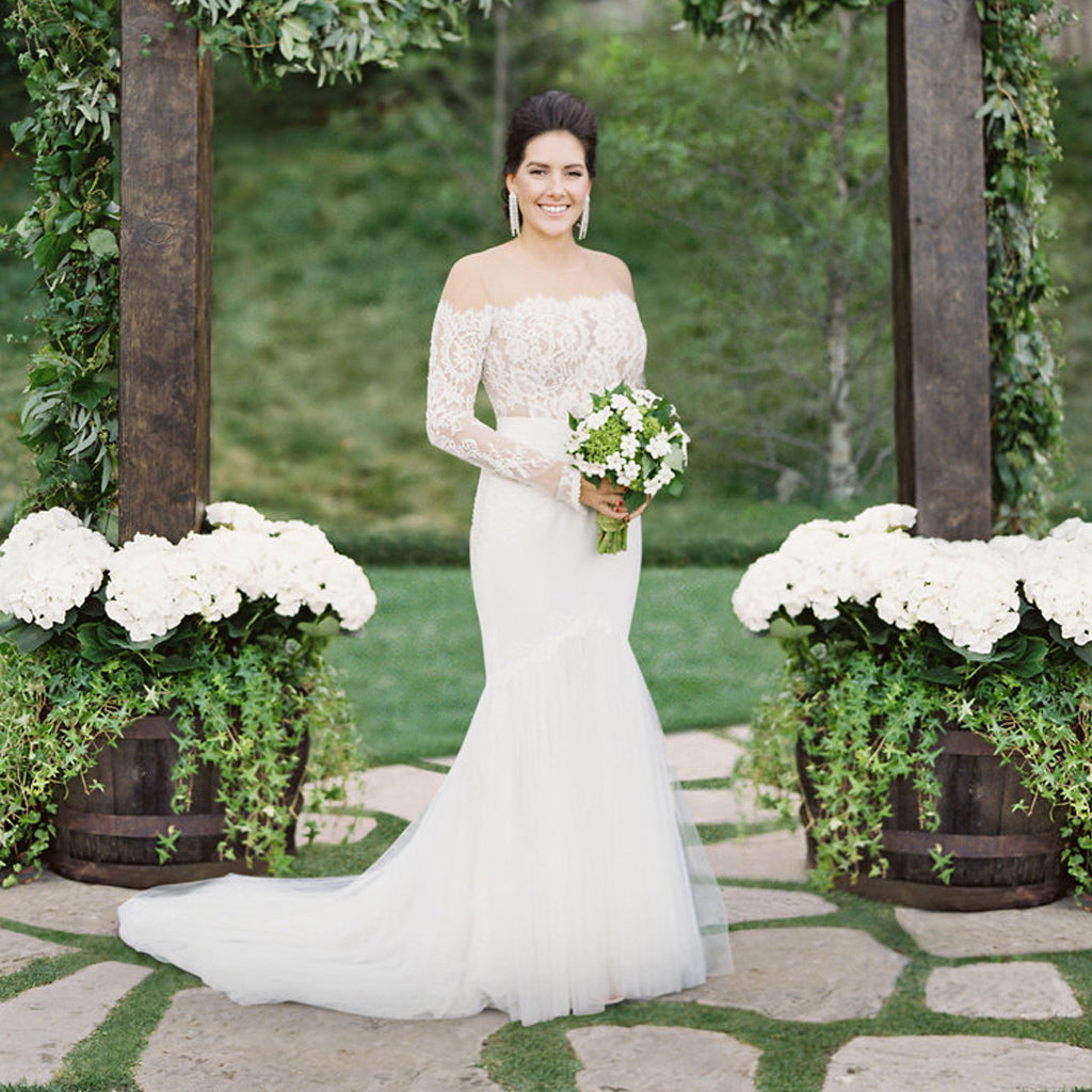 Charming White Lace Mermaid Wedding Dress, Long Sleeve Tulle  Bridal Dress, D951