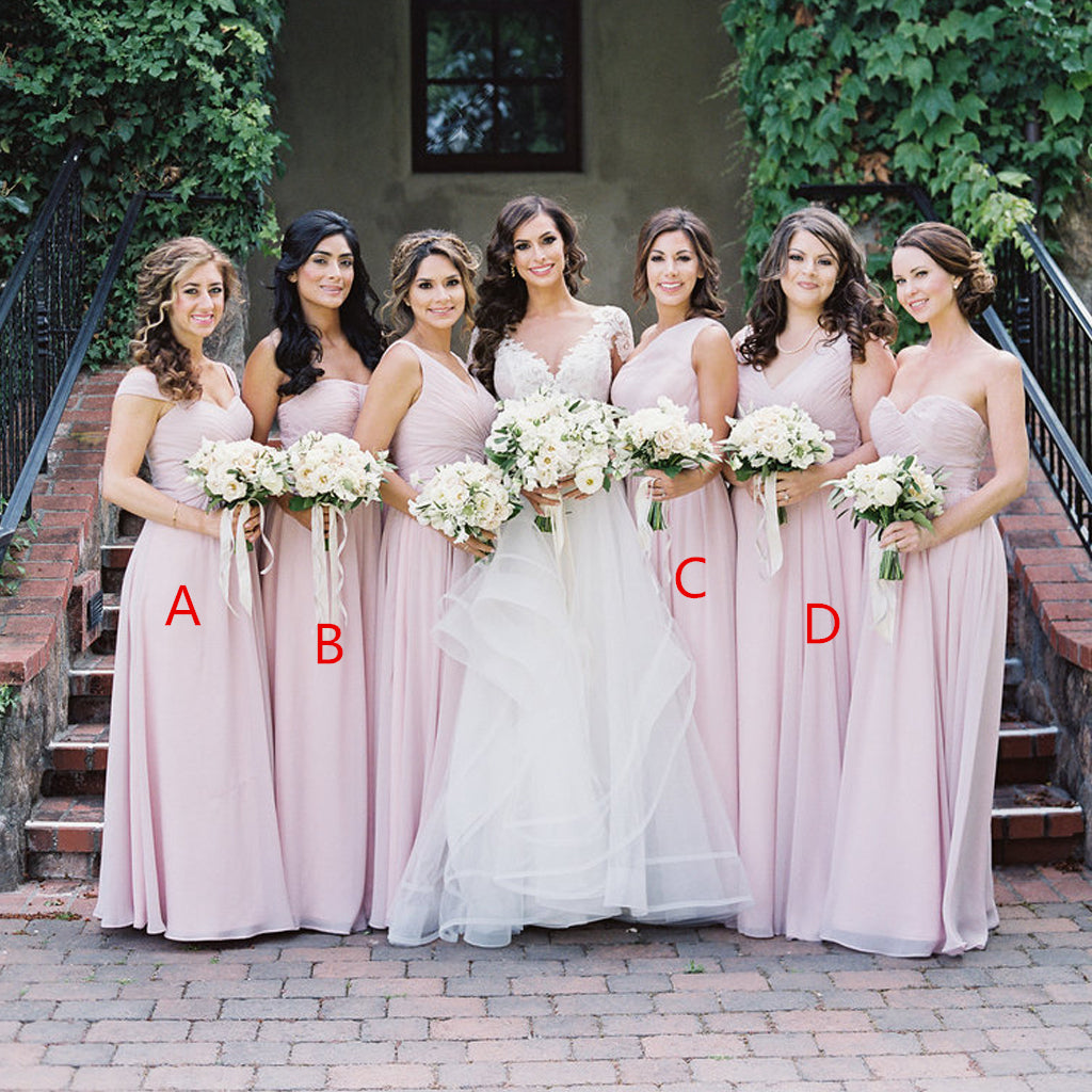 Pink Mismatched A-Line Bridesmaid Dress, Elegant Chiffon Bridesmaid Dress, D949