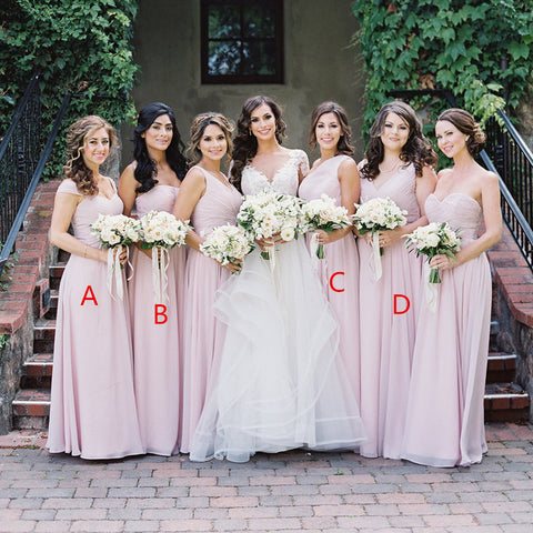 52fbe4ec7f14 Pink Mismatched A-Line Bridesmaid Dress, Elegant Chiffon Bridesmaid Dress,  D949