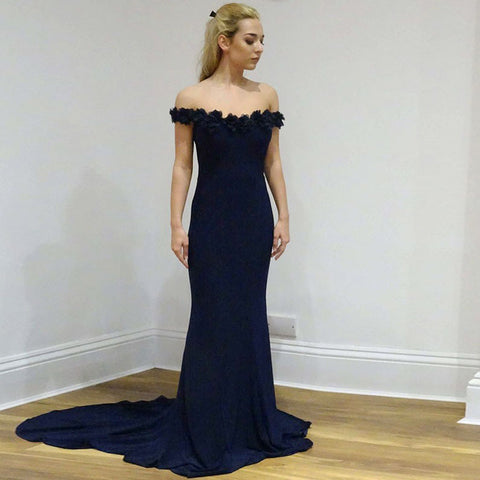 Navy Off Shoulder Jersey Mermaid Backless Applique Prom Dress, FC1260