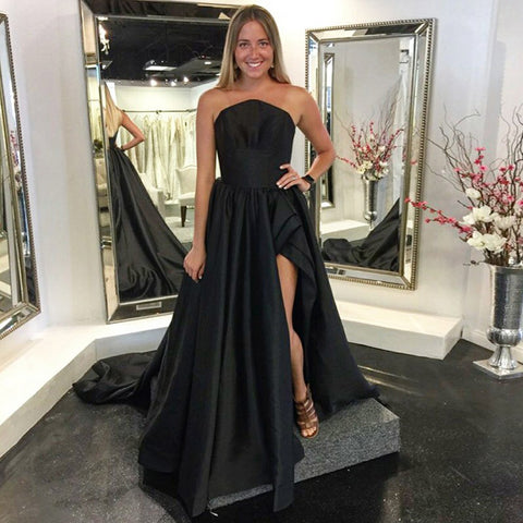 A-Line Black Satin Slit  Backless Simple Prom Dresses, FC1261