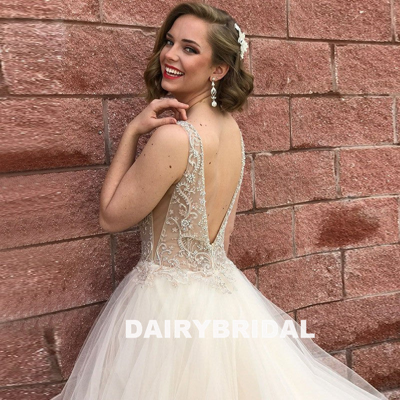 Charming Beaded V-Neck Backless Organza Sleevelss A-Line Prom Dress, FC1263