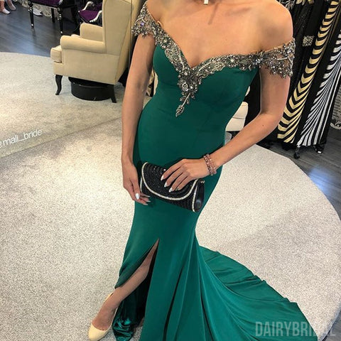 Off Shoulder Mermaid Jersey Slit Beaded Backless Prom Dress, FC1431