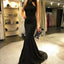 Black Mermaid Jersey Halter Backless Beaded Prom Dresses, FC1439