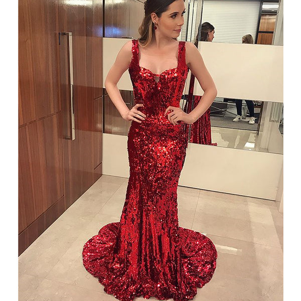 50871ef0df0 Sparkly Red Sequin Mermaid Sexy Backless Prom Dresses