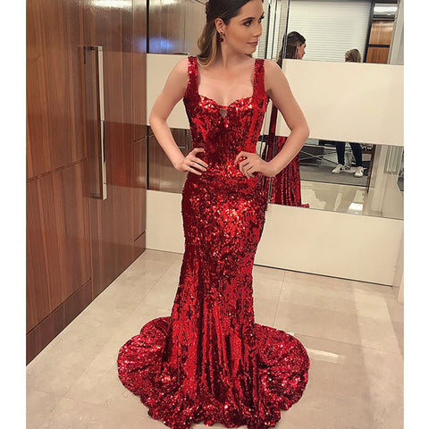 Sparkly Red Sequin Mermaid Sexy Backless Prom Dresses, FC1719