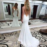 White Mermaid Jersey Sleeveless Sxey Backless Prom Dresses, FC1744