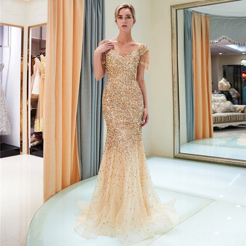 bbdf6a6fdce4 Sparkly Sequin Cap Sleeve Tulle Mermaid Backless Beaded Prom Dress, FC1777