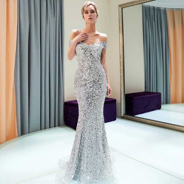 61059f49ad2 Sparkly Off Shoulder Mermaid Silver Beaded Backless Sequin Prom Dresses,  FC1779