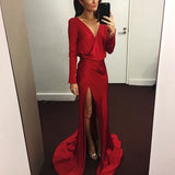 A-Line Long Sleeve Backless V-Neck Sexy Slit Prom Dresses, FC1811