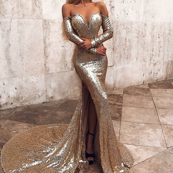 9dad44231c Sparkly Sequin Off Shoulder Sexy Slit Backless Mermaid Prom Dresses, FC1855