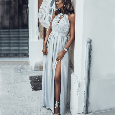Gray Chiffon A-Line Slit Simple Cheap Prom Dresses, FC1871