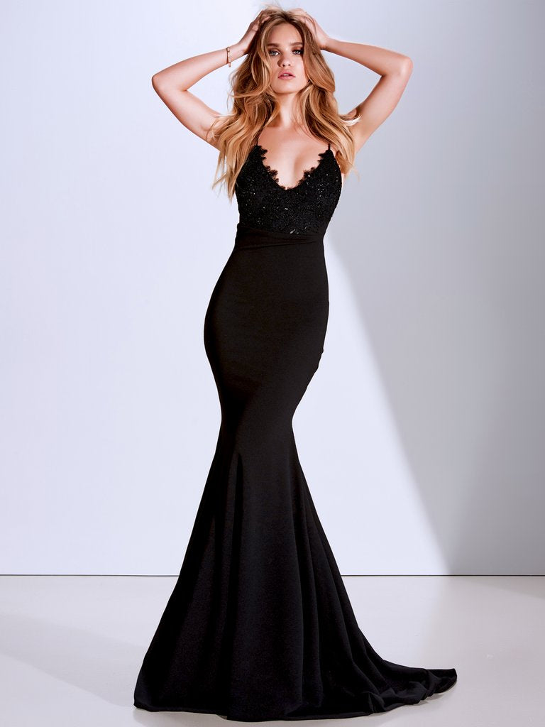 Black Spaghetti Straps Backless Mermaid Lace Beaded Prom Dresses, FC1920