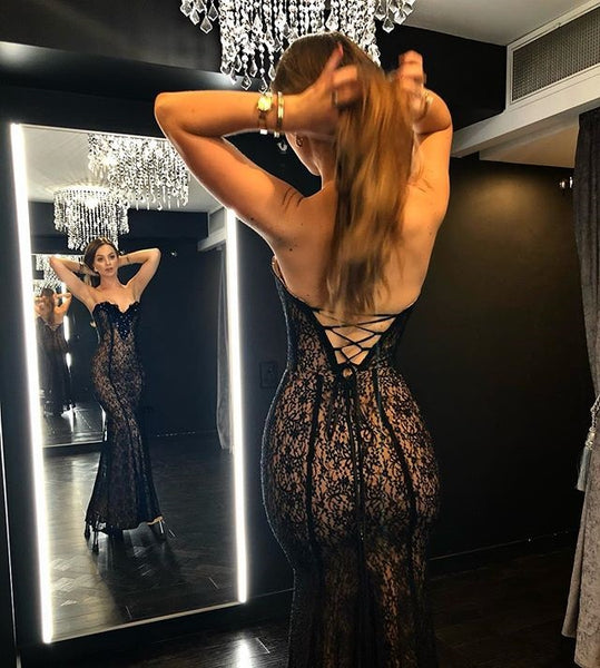 Sexy Mermaid Backless Lace Sweetheart Inexpensive Prom Dresses, FC1939