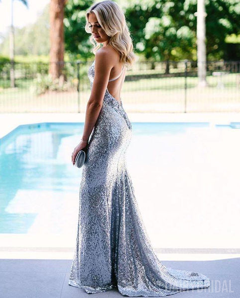Mermaid Sparkly Silver Sequin Backless V-Neck Spaghetti Straps Prom Dresses, FC1940