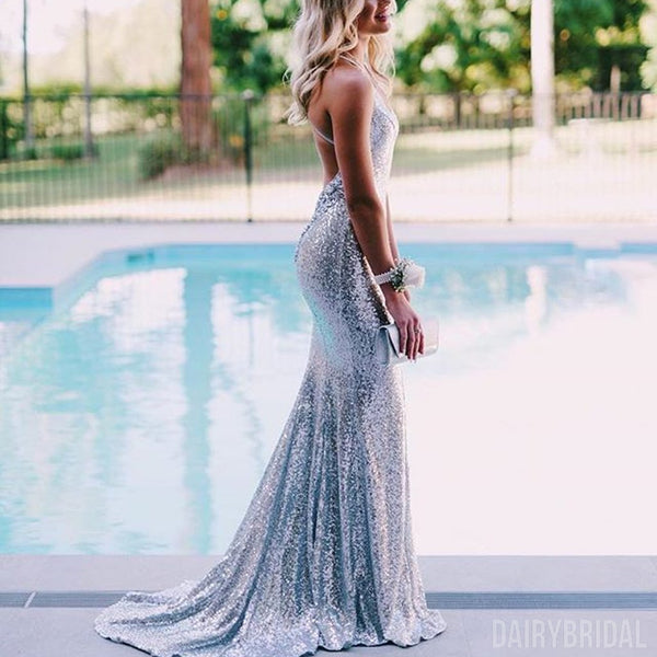80190e1d06f Mermaid Sparkly Silver Sequin Backless V-Neck Spaghetti Straps Prom Dresses