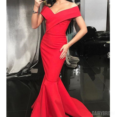Inexpensive Red Off Shouder Satin Mermaid Simple Prom Dresses, FC1944