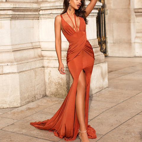 Sexy Mermaid Slit Backless Jersey Sleeveless Pleated Prom Dresses, FC1983