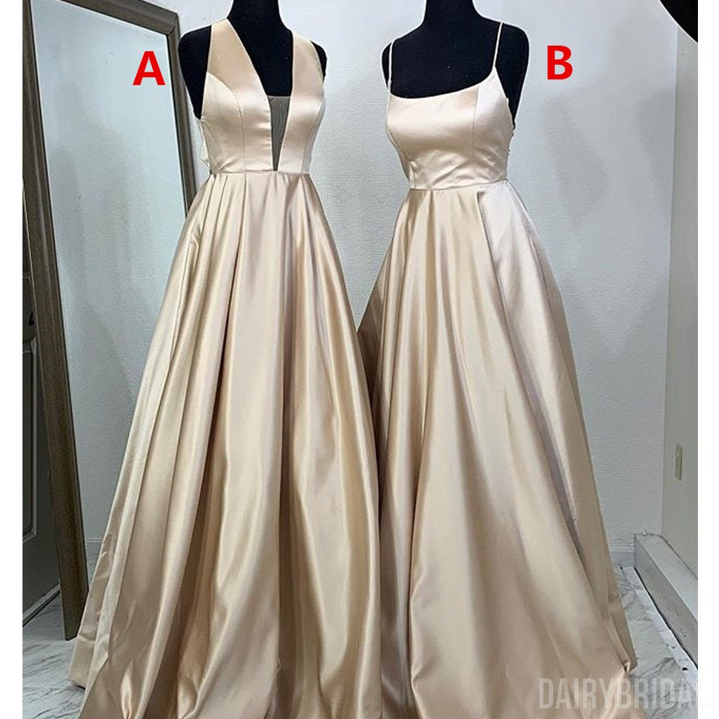 Different Styles A-Line Satin Backless Cheap Long Prom Dresses, FC2024