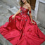 Straight Neckline A-Line Satin Backless Applique Prom Dresses, FC2038