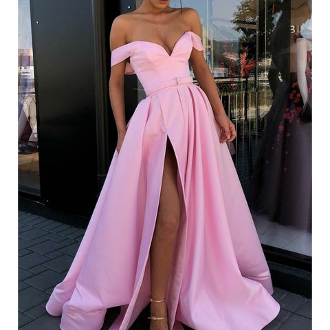 Charming Off Shoulder Backless Satin Long Slit Prom Dresses, FC2059