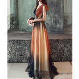 A-Line Gradual Tulle Applique Long Beaded Prom Dresses, FC2073