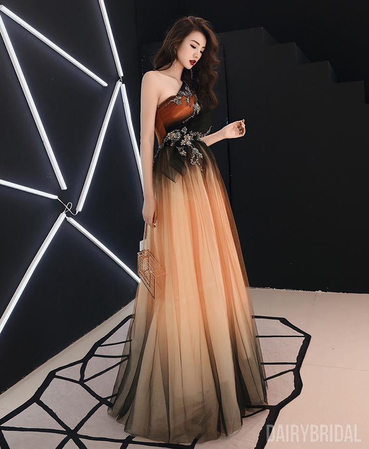One Shoulder Gradual Tulle A-Line Applique Long Prom Dresses, FC2074