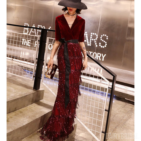 Burgundy Mermaid Beaded Half Sleeve Velvet V-neck Prom Dresses, FC2076