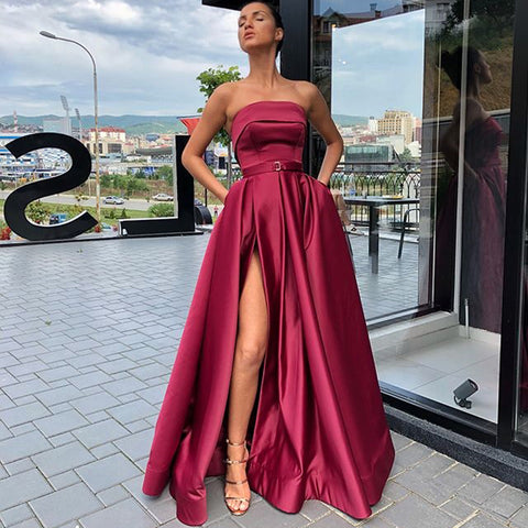 Elegant A-line Satin Backless Sexy Slit Long Prom Dresses, FC2126