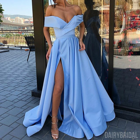 Gorgeous Off Shoulder A-line Backless Satin Slit Long Prom Dresses, FC2129