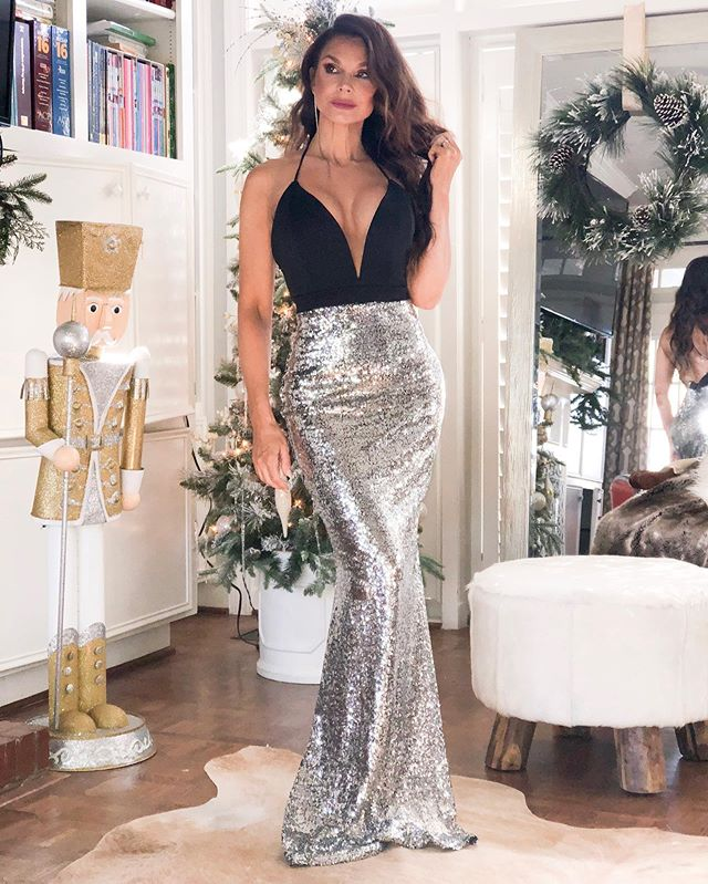 Sparkly Sequin Mermaid Backless Jersey Deep V-neck Prom Dress, FC2213