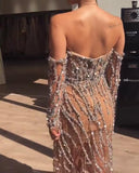 Sweetheart Tulle Backless Long Sleeve Rhinestones Sparkly Sequin Prom Dresses, FC3836