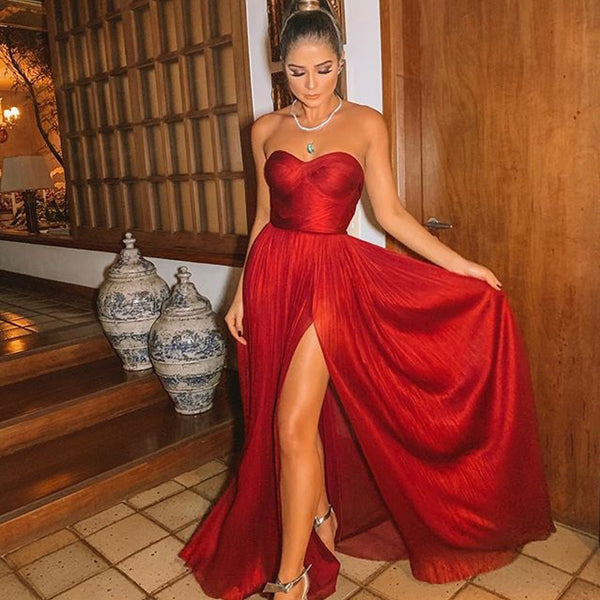 b07822a1fc Red Chiffon Sweetheart A-line Sexy Slit Backless Prom Dresses, FC2331