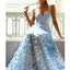 Charming Spaghetti Straps Jersey A-Line Backless Lace Prom Dresses, FC2354