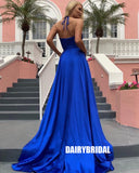 Royal Blue A-line Halter Sexy Slit V-neck Backless Prom Dresses, FC2372