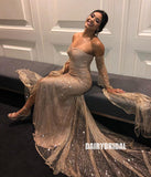 Gold Long Sleeve Sparkly Off Shoulder Special Designed Mermaid Prom Dresses, FC2384