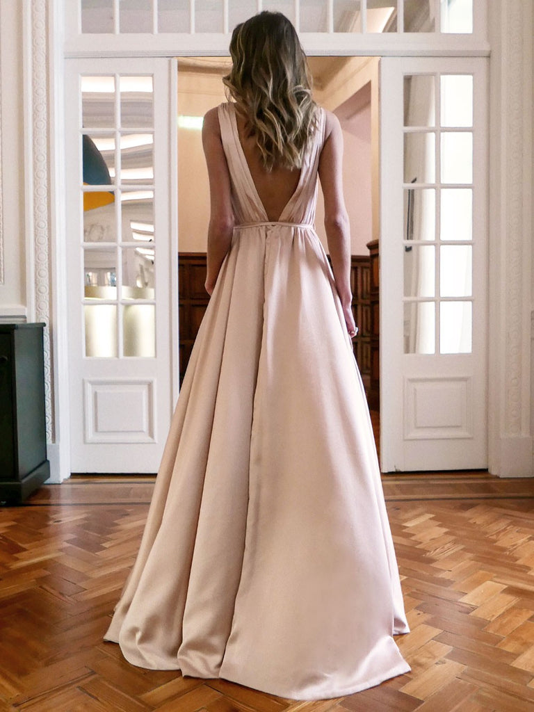 Simple A-line Sleeveless V-neck Slit Backless Prom Dresses, FC2406