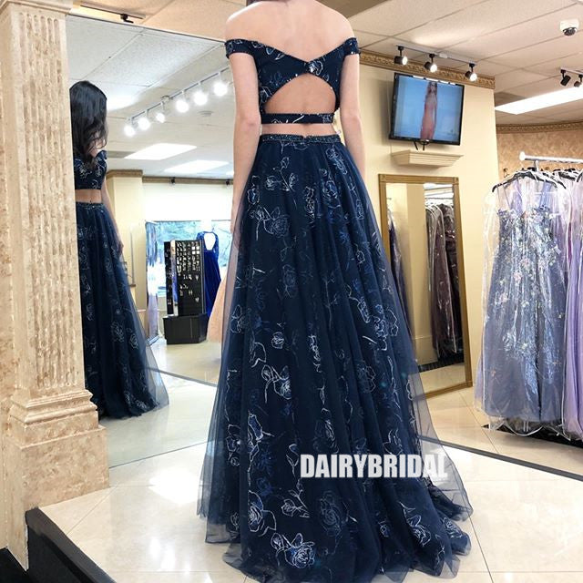 Black Off Shoulder Two Pieces Open-Back Lace Slit A-line Tulle Prom Dresses, FC2411