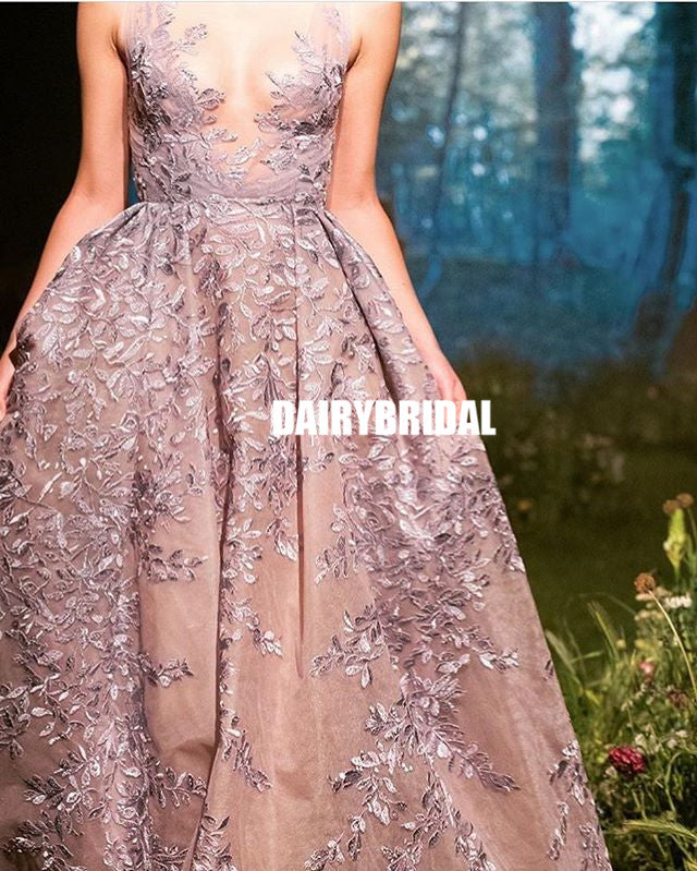 Elegant Lace A-line Sleeveless Tulle Charming Prom Dresses, FC2419
