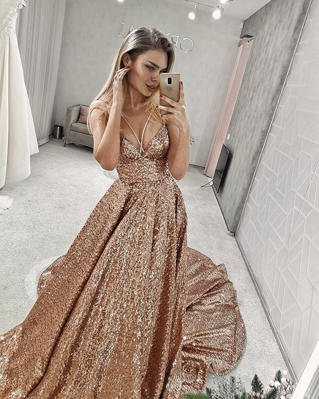 Sparkly Sequin A-line Backless Sexy Prom Dresses, FC2615