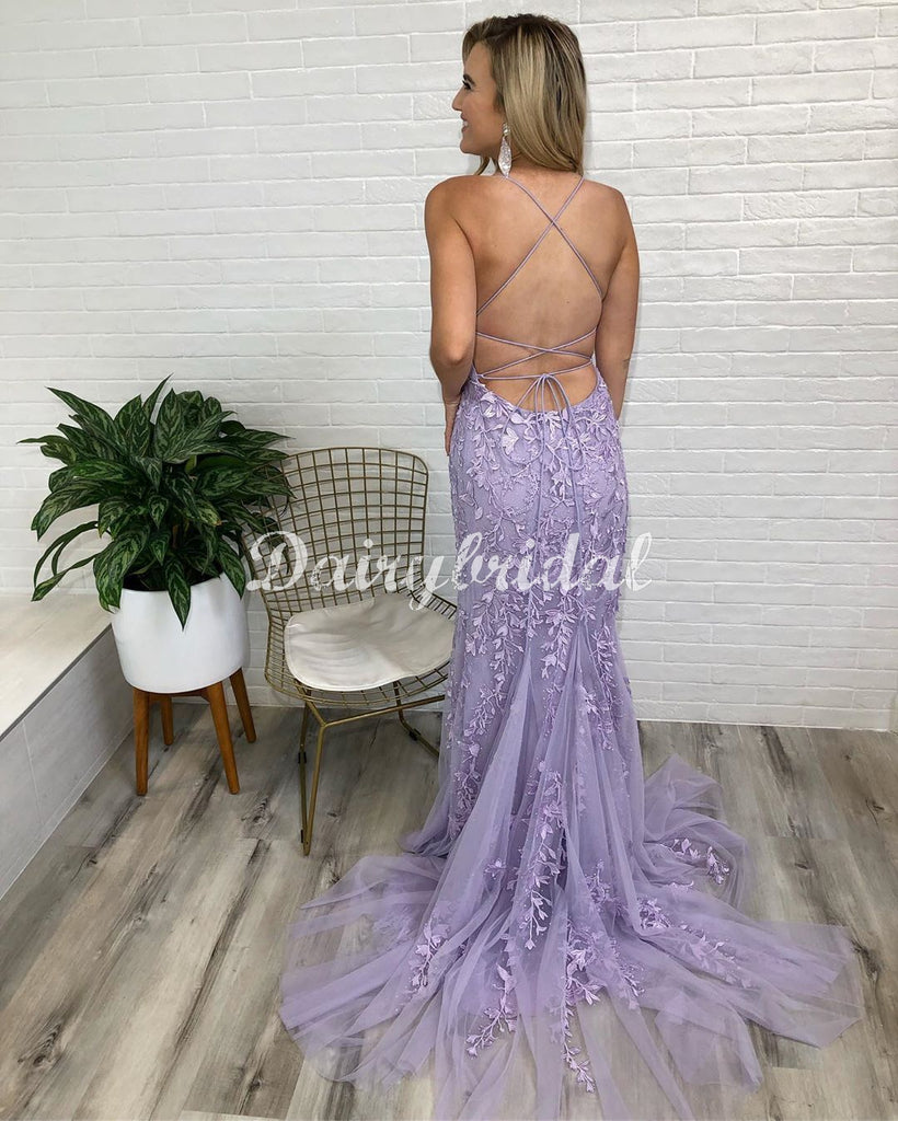 Sexy Mermaid Lace Cross Back Sleeveless Long Prom Dresses, FC4368