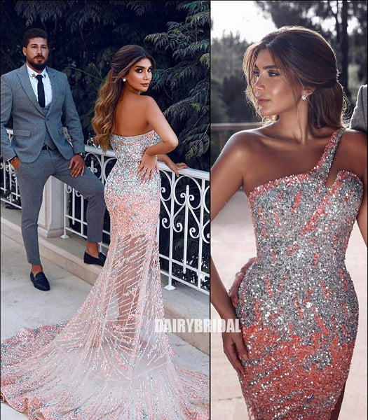 Newest One Shoulder Mermaid Sequin Backless Tulle Prom Dresses, FC4104