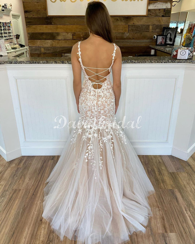 New Arrival Mermaid Lace Cross Back Sleeveless Long Prom Dresses, FC4431
