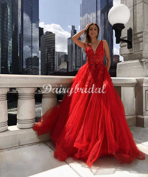 Red Charming A-line Tulle V-neck Sleeveless Appliques Prom Dresses, FC4471