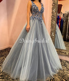 Sexy Deep V-neck  Backless A-line Sleeveless Prom Dresses, FC4472