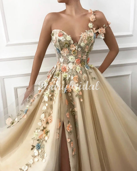 Stunning One Shoulder A-line Applique Slit Long Tulle Prom Dresses, FC4501