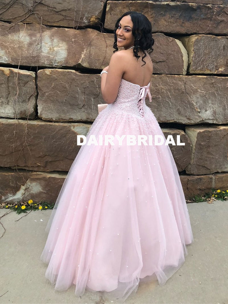 Sweetheart A-Line Beaded Pink Backless Tulle Sleeveless Prom Dresses, D1061