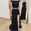 Black Off Shoulder Two Pieces Beaded A-Line Slit Chiffon Prom Dresses, D1062